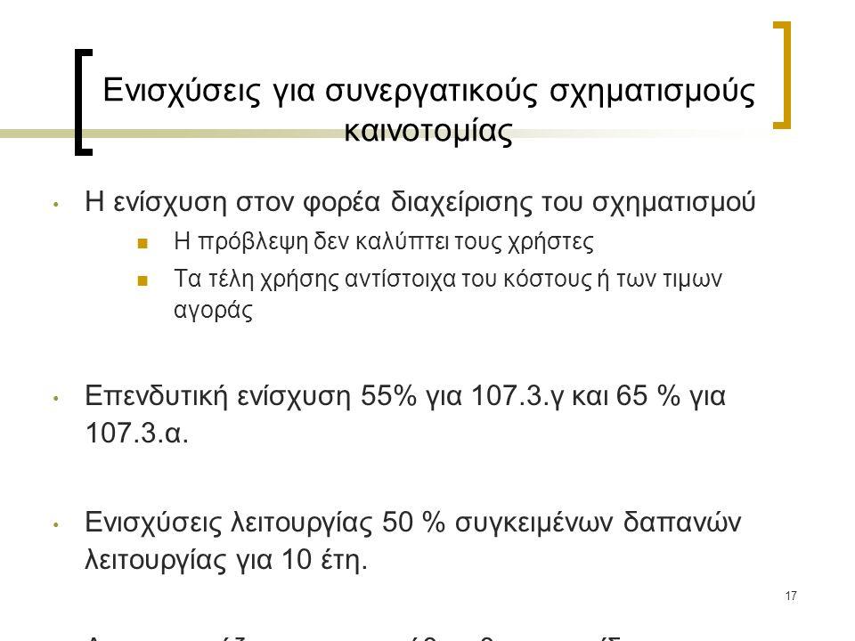 Ενισχύσεις για συνεργατικούς σχηματισμούς καινοτομίας Η ενίσχυση στον φορέα διαχείρισης του σχηματισμού Η πρόβλεψη δεν καλύπτει τους χρήστες Τα τέλη χρήσης αντίστοιχα του κόστους ή των τιμων αγοράς Επενδυτική ενίσχυση 55% για 107.3.γ και 65 % για 107.3.α.