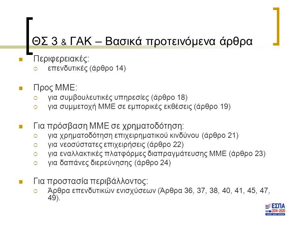 ΘΣ 3 & ΓΑΚ – Βασικά προτεινόμενα άρθρα Περιφερειακές:  επενδυτικές (άρθρο 14) Προς ΜΜΕ:  για συμβουλευτικές υπηρεσίες (άρθρο 18)  για συμμετοχή ΜΜΕ σε εμπορικές εκθέσεις (άρθρο 19) Για πρόσβαση ΜΜΕ σε χρηματοδότηση:  για χρηματοδότηση επιχειρηματικού κινδύνου (άρθρο 21)  για νεοσύστατες επιχειρήσεις (άρθρο 22)  για εναλλακτικές πλατφόρμες διαπραγμάτευσης ΜΜΕ (άρθρο 23)  για δαπάνες διερεύνησης (άρθρο 24) Για προστασία περιβάλλοντος:  Άρθρα επενδυτικών ενισχύσεων (Άρθρα 36, 37, 38, 40, 41, 45, 47, 49).