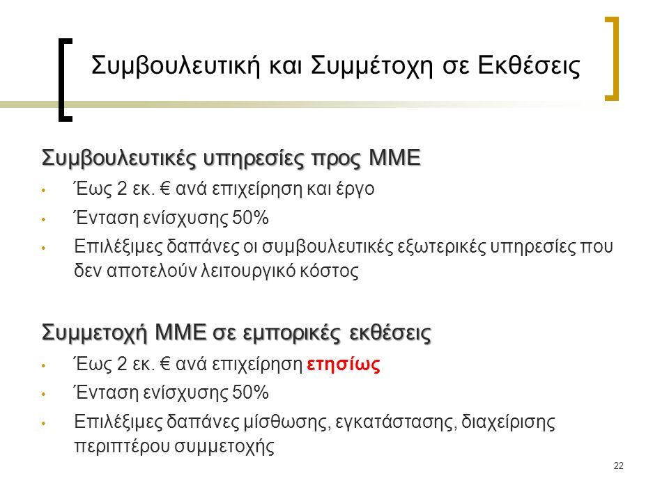 Συμβουλευτική και Συμμέτοχη σε Εκθέσεις Συμβουλευτικές υπηρεσίες προς ΜΜΕ Έως 2 εκ.