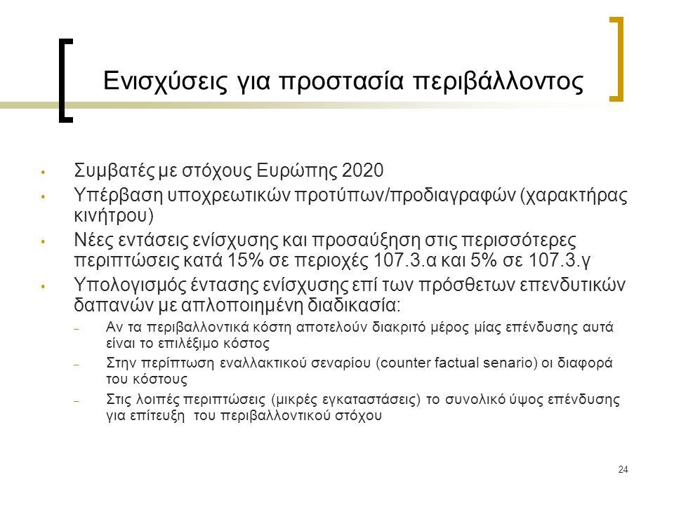 24 Ενισχύσεις για προστασία περιβάλλοντος Συμβατές με στόχους Ευρώπης 2020 Υπέρβαση υποχρεωτικών προτύπων/προδιαγραφών (χαρακτήρας κινήτρου) Νέες εντάσεις ενίσχυσης και προσαύξηση στις περισσότερες περιπτώσεις κατά 15% σε περιοχές 107.3.α και 5% σε 107.3.γ Υπολογισμός έντασης ενίσχυσης επί των πρόσθετων επενδυτικών δαπανών με απλοποιημένη διαδικασία: – Αν τα περιβαλλοντικά κόστη αποτελούν διακριτό μέρος μίας επένδυσης αυτά είναι το επιλέξιμο κόστος – Στην περίπτωση εναλλακτικού σεναρίου (counter factual senario) οι διαφορά του κόστους – Στις λοιπές περιπτώσεις (μικρές εγκαταστάσεις) το συνολικό ύψος επένδυσης για επίτευξη του περιβαλλοντικού στόχου