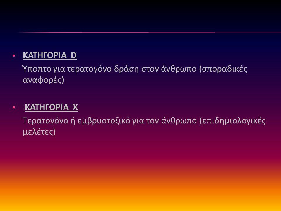  ΚΑΤΗΓΟΡΙΑ D Ύποπτο για τερατογόνο δράση στον άνθρωπο (σποραδικές αναφορές)  ΚΑΤΗΓΟΡΙΑ X Τερατογόνο ή εμβρυοτοξικό για τον άνθρωπο (επιδημιολογικές μελέτες)