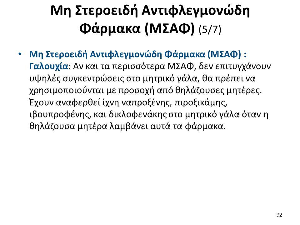 Μη Στεροειδή Αντιφλεγμονώδη Φάρμακα (ΜΣΑΦ) (5/7) Μη Στεροειδή Αντιφλεγμονώδη Φάρμακα (ΜΣΑΦ) : Γαλουχία: Αν και τα περισσότερα ΜΣΑΦ, δεν επιτυγχάνουν υ