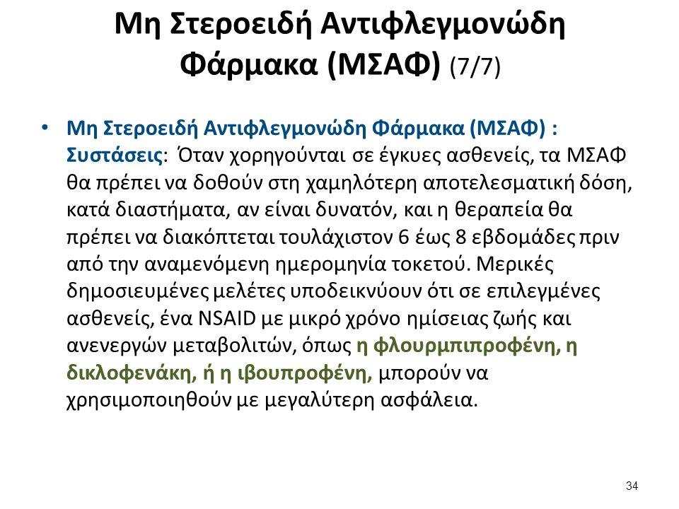 Μη Στεροειδή Αντιφλεγμονώδη Φάρμακα (ΜΣΑΦ) (7/7) Μη Στεροειδή Αντιφλεγμονώδη Φάρμακα (ΜΣΑΦ) : Συστάσεις: Όταν χορηγούνται σε έγκυες ασθενείς, τα ΜΣΑΦ