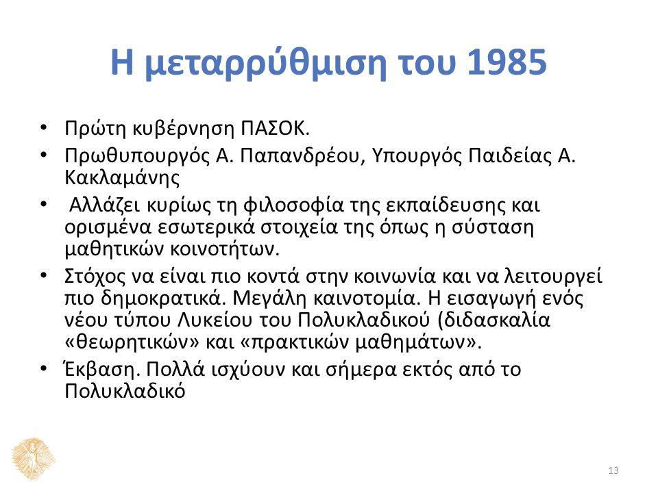 Η μεταρρύθμιση του 1985 Πρώτη κυβέρνηση ΠΑΣΟΚ. Πρωθυπουργός Α.