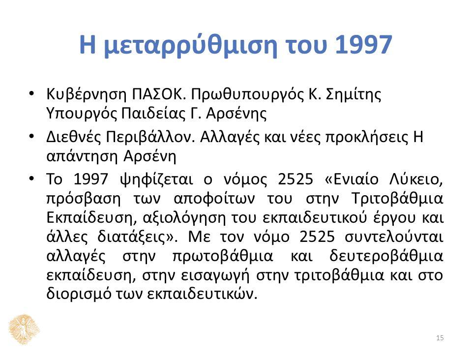 Η μεταρρύθμιση του 1997 Κυβέρνηση ΠΑΣΟΚ. Πρωθυπουργός Κ.