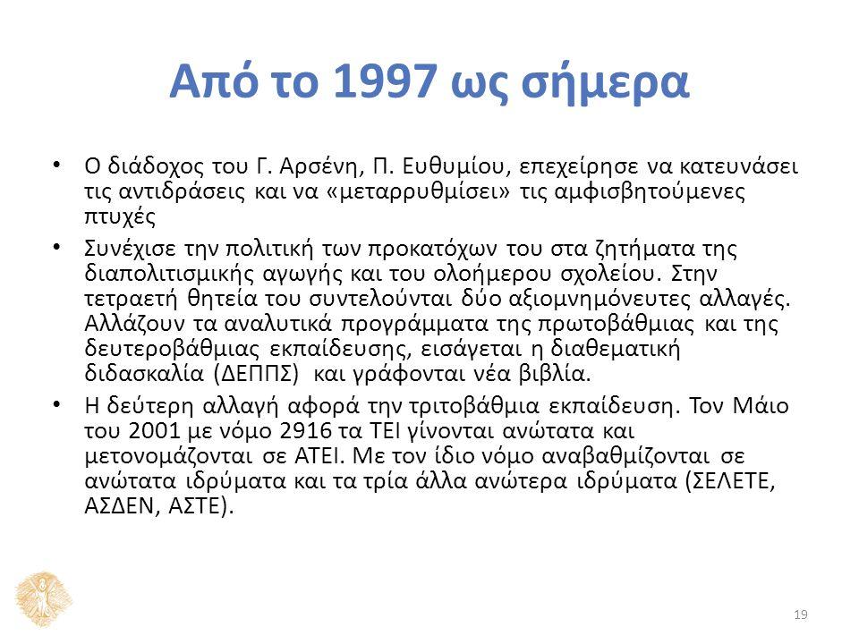 Από το 1997 ως σήμερα Ο διάδοχος του Γ. Αρσένη, Π.