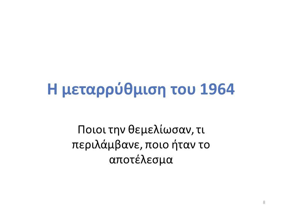 Η μεταρρύθμιση του 1964 Φορέας Κυβέρνηση Γ.Παπανδρέου.