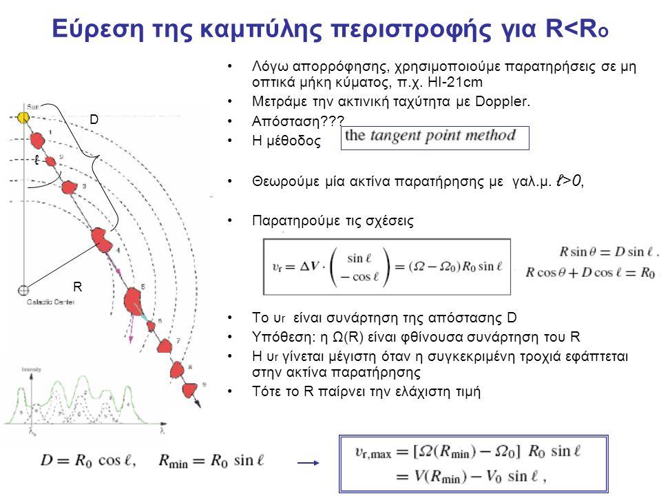 Έτσι, μετράμε το σε διάφορα γαλαξιακά μήκη ℓ, οπότε βρίσκουμε την καμπύλη περιστροφής (εντός της ηλιακής τροχιάς) Για R>Ro δεν μπορούμε να χρησιμοποιήσουμε την μέθοδο αυτή διότι το υr δεν μεγιστοποείται για Οπότε πρέπει να μετρήσουμε την ακτινική ταχύτητα αντικειμένων των οποίων γνωρίζουμε και την απόσταση (π.χ.