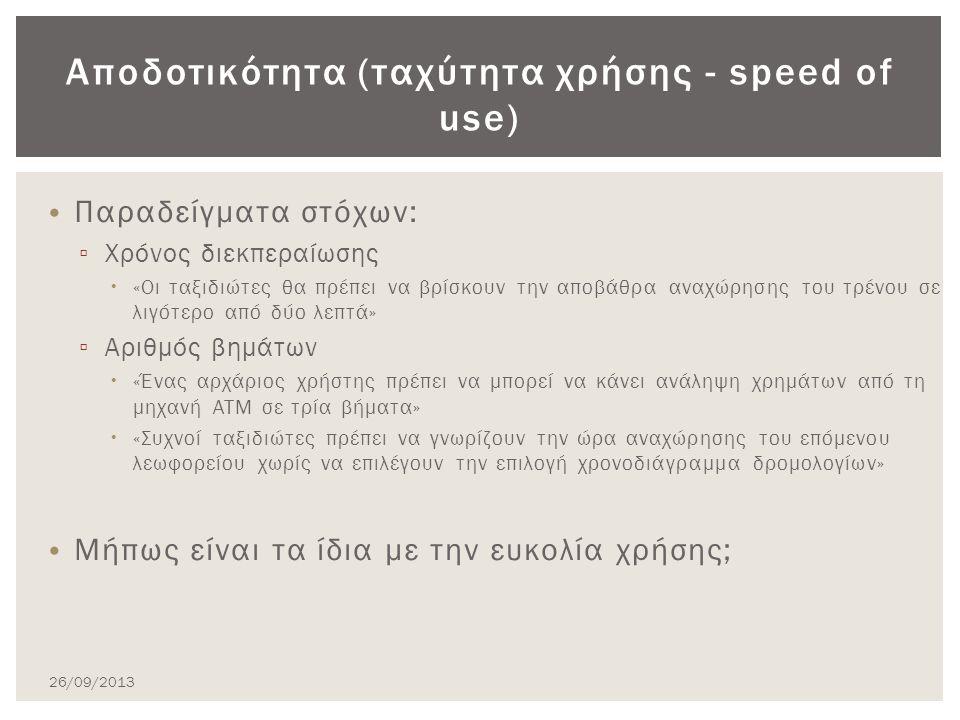 Παραδείγματα στόχων: ▫ Χρόνος διεκπεραίωσης  «Οι ταξιδιώτες θα πρέπει να βρίσκουν την αποβάθρα αναχώρησης του τρένου σε λιγότερο από δύο λεπτά» ▫ Αριθμός βημάτων  «Ένας αρχάριος χρήστης πρέπει να μπορεί να κάνει ανάληψη χρημάτων από τη μηχανή ATM σε τρία βήματα»  «Συχνοί ταξιδιώτες πρέπει να γνωρίζουν την ώρα αναχώρησης του επόμενου λεωφορείου χωρίς να επιλέγουν την επιλογή χρονοδιάγραμμα δρομολογίων» Μήπως είναι τα ίδια με την ευκολία χρήσης; Αποδοτικότητα (ταχύτητα χρήσης - speed of use) 26/09/2013