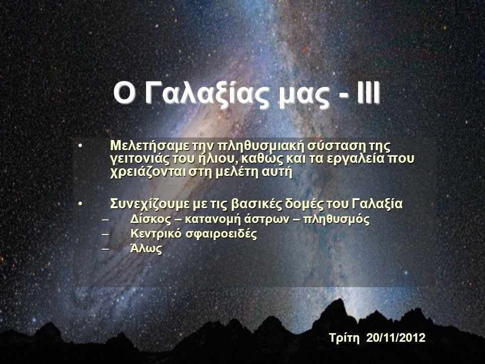 Σκόνη και αέριο στον λεπτό δίσκο- Σπειροειδείς βραχίονες Το αέριο και η σκόνη, περιοχές ΗΙΙ και τα πολύ νέα (λαμπρά και «μπλε») άστρα (αστρική δημιουργία) είναι συγκεντρωμένα στις σπείρες του γαλαξία Πως ανιχνεύουμε το αέριο (βλ.