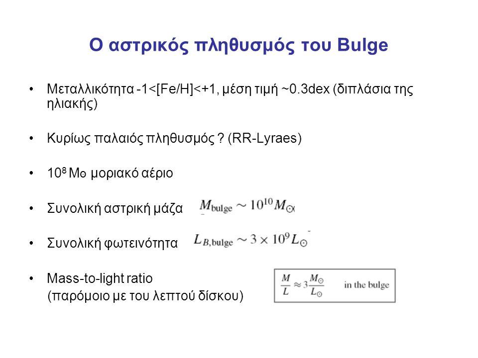 O αστρικός πληθυσμός του Bulge Μεταλλικότητα -1<[Fe/H]<+1, μέση τιμή ~0.3dex (διπλάσια της ηλιακής) Κυρίως παλαιός πληθυσμός ? (RR-Lyraes) 10 8 M סּ μο
