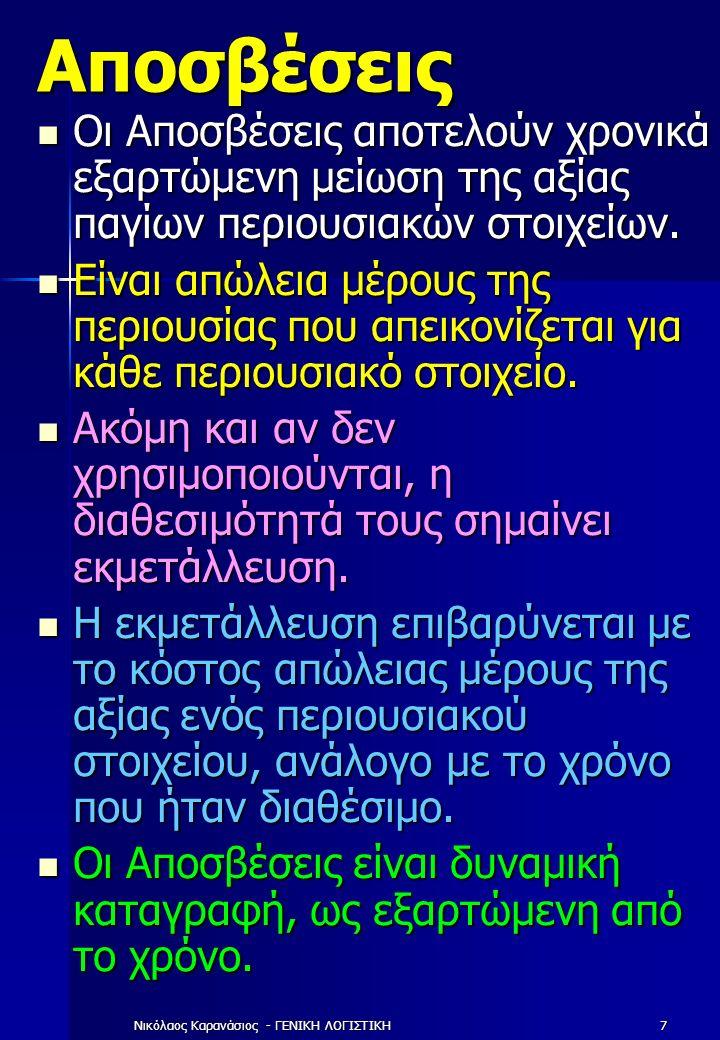 Νικόλαος Καρανάσιος - ΓΕΝΙΚΗ ΛΟΓΙΣΤΙΚΗ7 Αποσβέσεις Οι Αποσβέσεις αποτελούν χρονικά εξαρτώμενη μείωση της αξίας παγίων περιουσιακών στοιχείων.