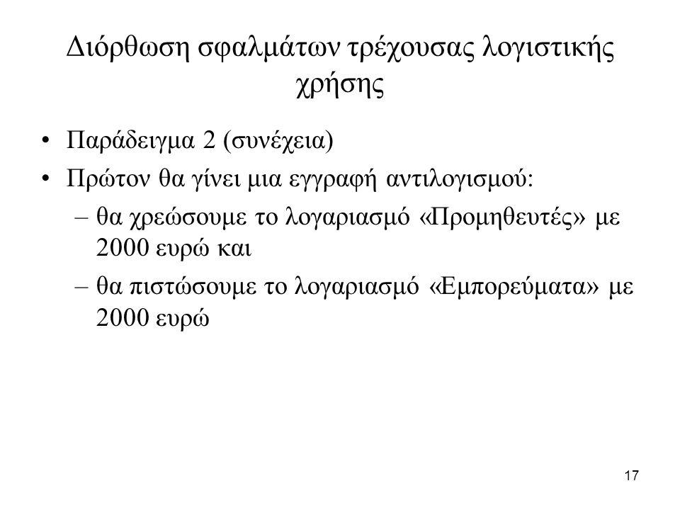 17 Διόρθωση σφαλμάτων τρέχουσας λογιστικής χρήσης Παράδειγμα 2 (συνέχεια) Πρώτον θα γίνει μια εγγραφή αντιλογισμού: –θα χρεώσουμε το λογαριασμό «Προμηθευτές» με 2000 ευρώ και –θα πιστώσουμε το λογαριασμό «Εμπορεύματα» με 2000 ευρώ