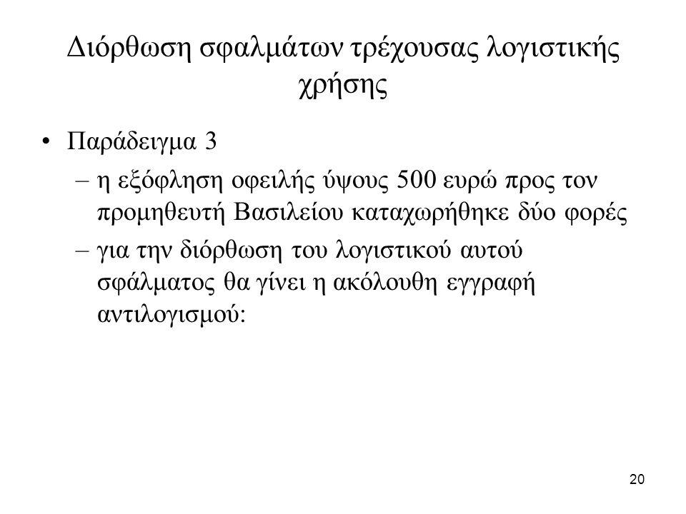 20 Διόρθωση σφαλμάτων τρέχουσας λογιστικής χρήσης Παράδειγμα 3 –η εξόφληση οφειλής ύψους 500 ευρώ προς τον προμηθευτή Βασιλείου καταχωρήθηκε δύο φορές –για την διόρθωση του λογιστικού αυτού σφάλματος θα γίνει η ακόλουθη εγγραφή αντιλογισμού: