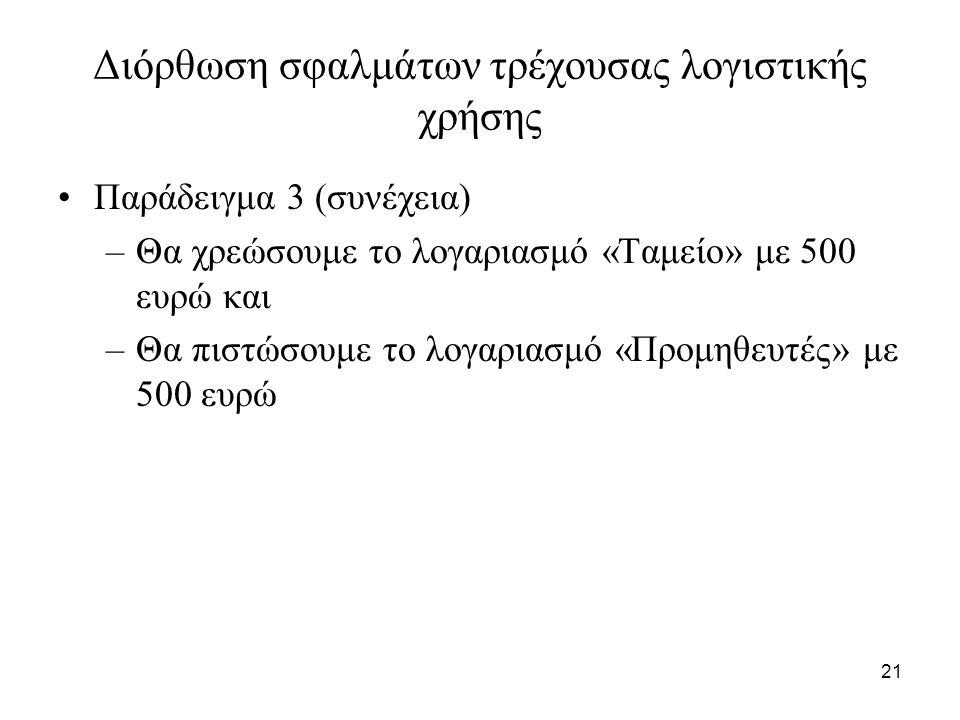 21 Διόρθωση σφαλμάτων τρέχουσας λογιστικής χρήσης Παράδειγμα 3 (συνέχεια) –Θα χρεώσουμε το λογαριασμό «Ταμείο» με 500 ευρώ και –Θα πιστώσουμε το λογαριασμό «Προμηθευτές» με 500 ευρώ