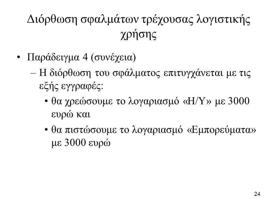24 Διόρθωση σφαλμάτων τρέχουσας λογιστικής χρήσης Παράδειγμα 4 (συνέχεια) –Η διόρθωση του σφάλματος επιτυγχάνεται με τις εξής εγγραφές: θα χρεώσουμε το λογαριασμό «Η/Υ» με 3000 ευρώ και θα πιστώσουμε το λογαριασμό «Εμπορεύματα» με 3000 ευρώ