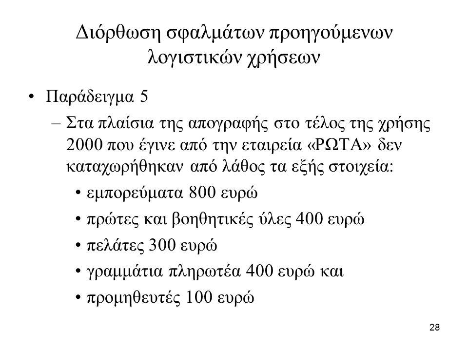 28 Διόρθωση σφαλμάτων προηγούμενων λογιστικών χρήσεων Παράδειγμα 5 –Στα πλαίσια της απογραφής στο τέλος της χρήσης 2000 που έγινε από την εταιρεία «ΡΩΤΑ» δεν καταχωρήθηκαν από λάθος τα εξής στοιχεία: εμπορεύματα 800 ευρώ πρώτες και βοηθητικές ύλες 400 ευρώ πελάτες 300 ευρώ γραμμάτια πληρωτέα 400 ευρώ και προμηθευτές 100 ευρώ
