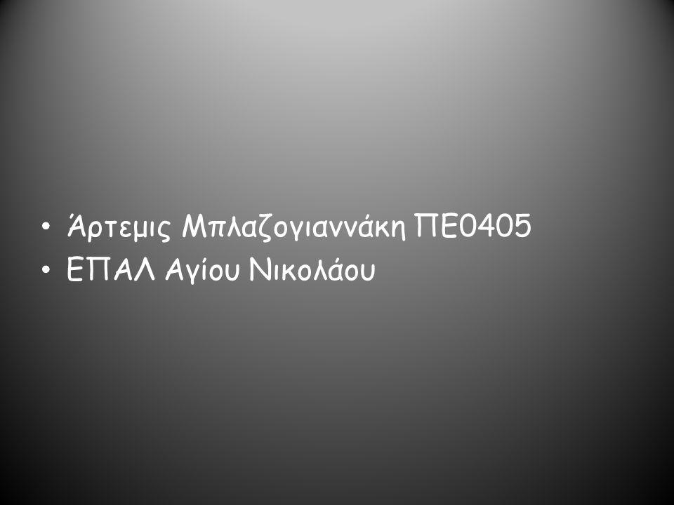 Άρτεμις Μπλαζογιαννάκη ΠΕ0405 ΕΠΑΛ Αγίου Νικολάου