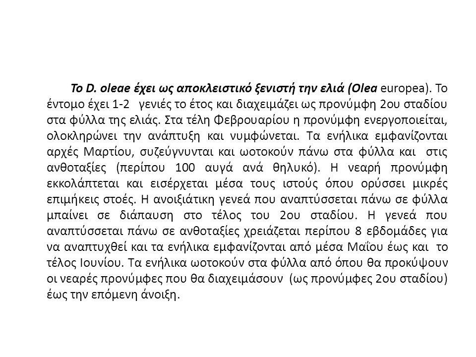 Το D. oleae έχει ως αποκλειστικό ξενιστή την ελιά (Olea europea).