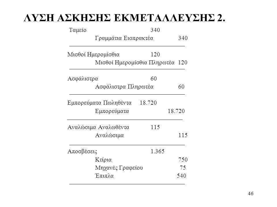 46 ΛΥΣΗ ΑΣΚΗΣΗΣ ΕΚΜΕΤΑΛΛΕΥΣΗΣ 2.
