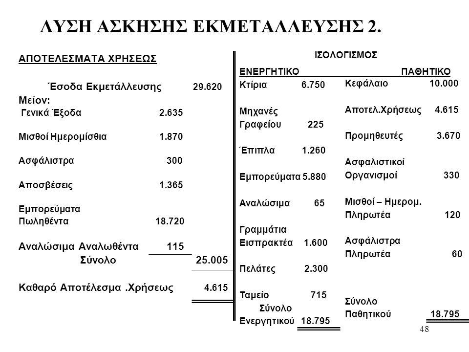 48 ΛΥΣΗ ΑΣΚΗΣΗΣ ΕΚΜΕΤΑΛΛΕΥΣΗΣ 2.