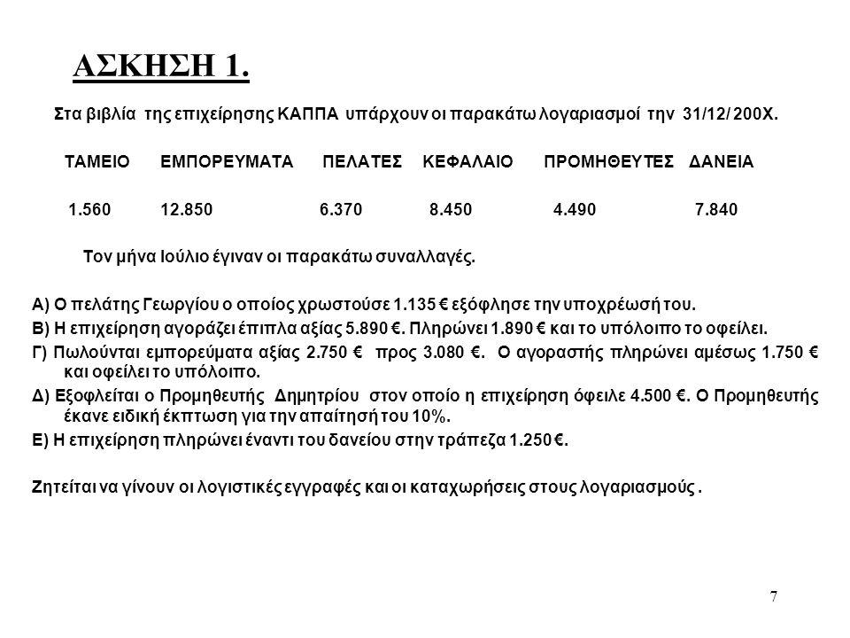 8 ΛΥΣΗ ΑΣΚΗΣΗΣ 1.Οι εγγραφές που αφορούν τις συναλλαγές που έγιναν τον μήνα Ιούλιο έχουν ως εξής.