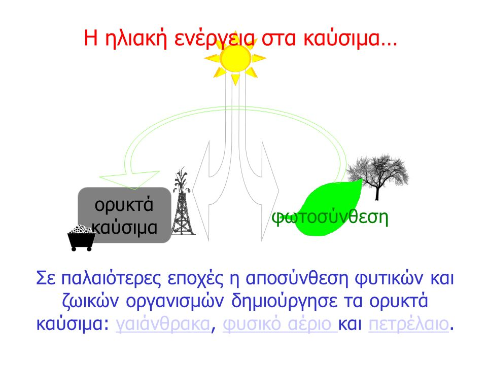 Σε παλαιότερες εποχές η αποσύνθεση φυτικών και ζωικών οργανισμών δημιούργησε τα ορυκτά καύσιμα: γαιάνθρακα, φυσικό αέριο και πετρέλαιο.γαιάνθρακαφυσικ
