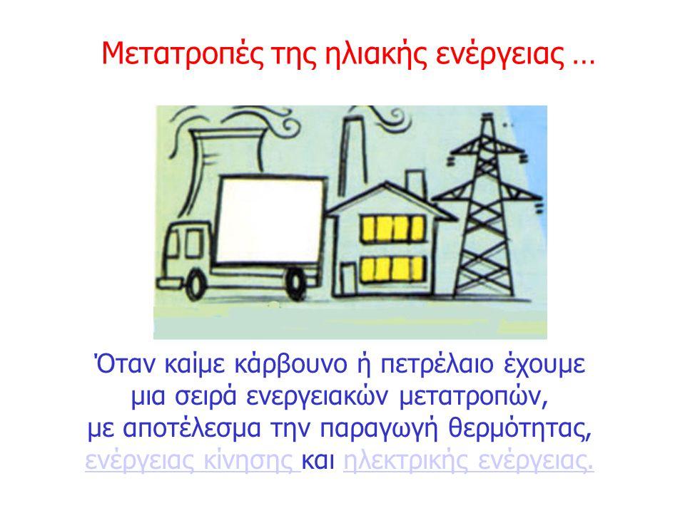 Όταν καίμε κάρβουνο ή πετρέλαιο έχουμε μια σειρά ενεργειακών μετατροπών, με αποτέλεσμα την παραγωγή θερμότητας, ενέργειας κίνησης και ηλεκτρικής ενέργ