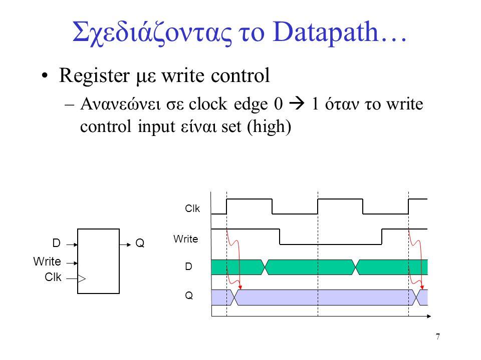 8 Σχεδιάζοντας το Datapath… Η αναζήτηση (fetching) εντολών: –διαβάζει την εντολή από την Instruction Memory –ενημερώνει τον PC με τη διεύθυνση της επόμενης εντολής Read Address Instruction Memory Add PC 4 Η instruction memory και ο PC δεν χρειάζονται read/write γραμμές ενεργοποίησης διότι είναι ενεργά σε κάθε κύκλο !