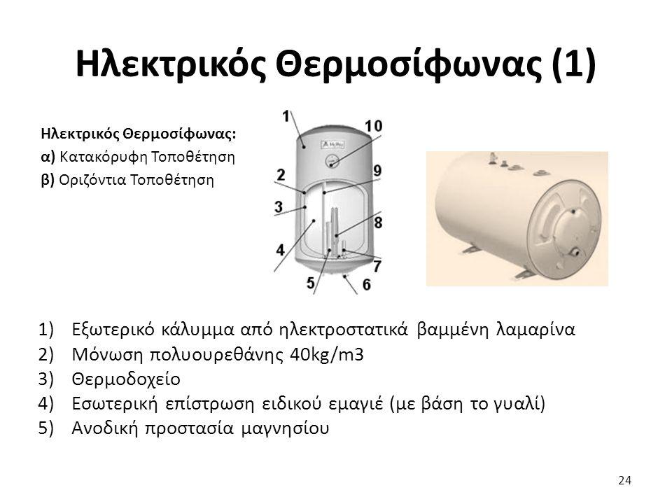 Ηλεκτρικός Θερμοσίφωνας (1) Ηλεκτρικός Θερμοσίφωνας: α) Κατακόρυφη Τοποθέτηση β) Οριζόντια Τοποθέτηση 24 1)Εξωτερικό κάλυμμα από ηλεκτροστατικά βαμμένη λαμαρίνα 2)Μόνωση πολυουρεθάνης 40kg/m3 3)Θερμοδοχείο 4)Εσωτερική επίστρωση ειδικού εμαγιέ (με βάση το γυαλί) 5)Ανοδική προστασία μαγνησίου