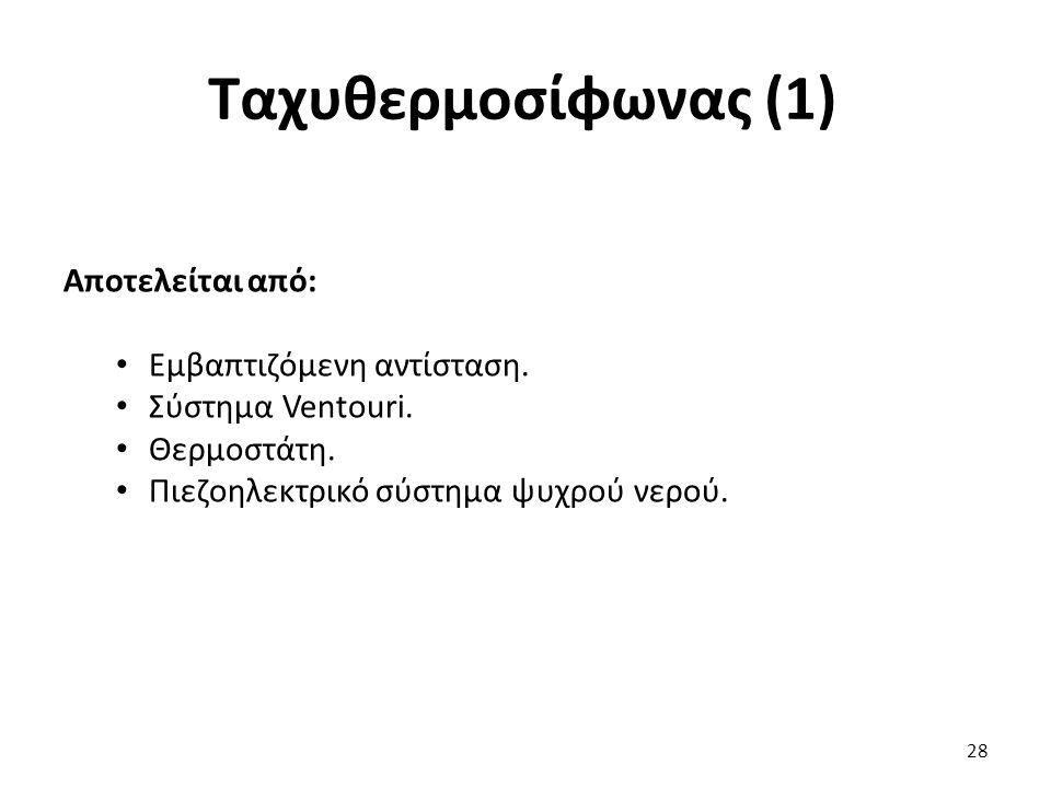 Ταχυθερμοσίφωνας (1) 28 Αποτελείται από: Εμβαπτιζόμενη αντίσταση.