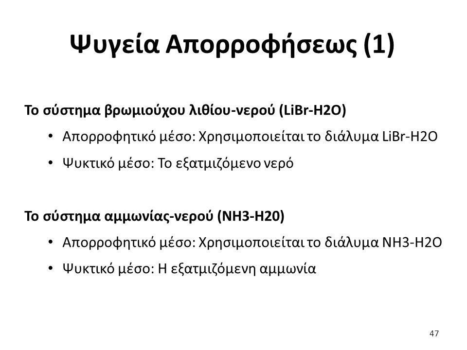 Ψυγεία Απορροφήσεως (1) 47 Το σύστημα βρωμιούχου λιθίου-νερού (LiBr-H2O) Απορροφητικό μέσο: Χρησιμοποιείται το διάλυμα LiBr-H2O Ψυκτικό μέσο: Το εξατμιζόμενο νερό Το σύστημα αμμωνίας-νερού (NH3-H20) Απορροφητικό μέσο: Χρησιμοποιείται το διάλυμα NH3-H2O Ψυκτικό μέσο: Η εξατμιζόμενη αμμωνία