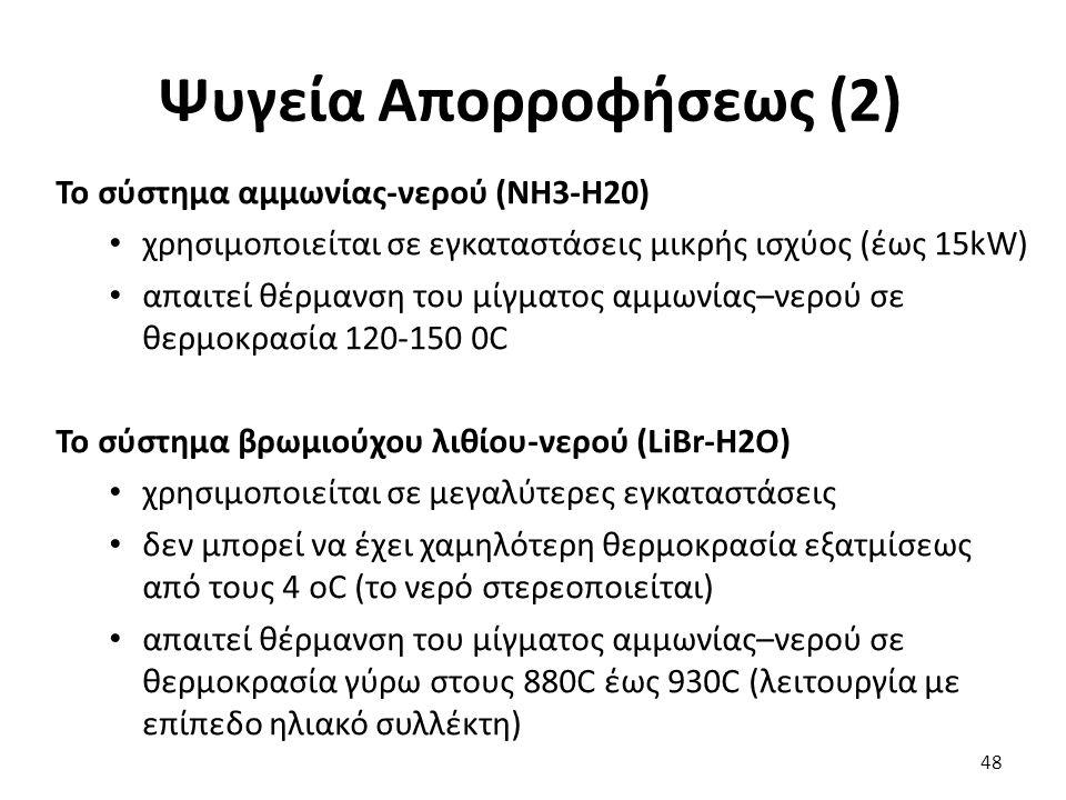 Ψυγεία Απορροφήσεως (2) 48 Το σύστημα αμμωνίας-νερού (NH3-H20) χρησιμοποιείται σε εγκαταστάσεις μικρής ισχύος (έως 15kW) απαιτεί θέρμανση του μίγματος αμμωνίας–νερού σε θερμοκρασία 120-150 0C Το σύστημα βρωμιούχου λιθίου-νερού (LiBr-H2O) χρησιμοποιείται σε μεγαλύτερες εγκαταστάσεις δεν μπορεί να έχει χαμηλότερη θερμοκρασία εξατμίσεως από τους 4 oC (το νερό στερεοποιείται) απαιτεί θέρμανση του μίγματος αμμωνίας–νερού σε θερμοκρασία γύρω στους 880C έως 930C (λειτουργία με επίπεδο ηλιακό συλλέκτη)