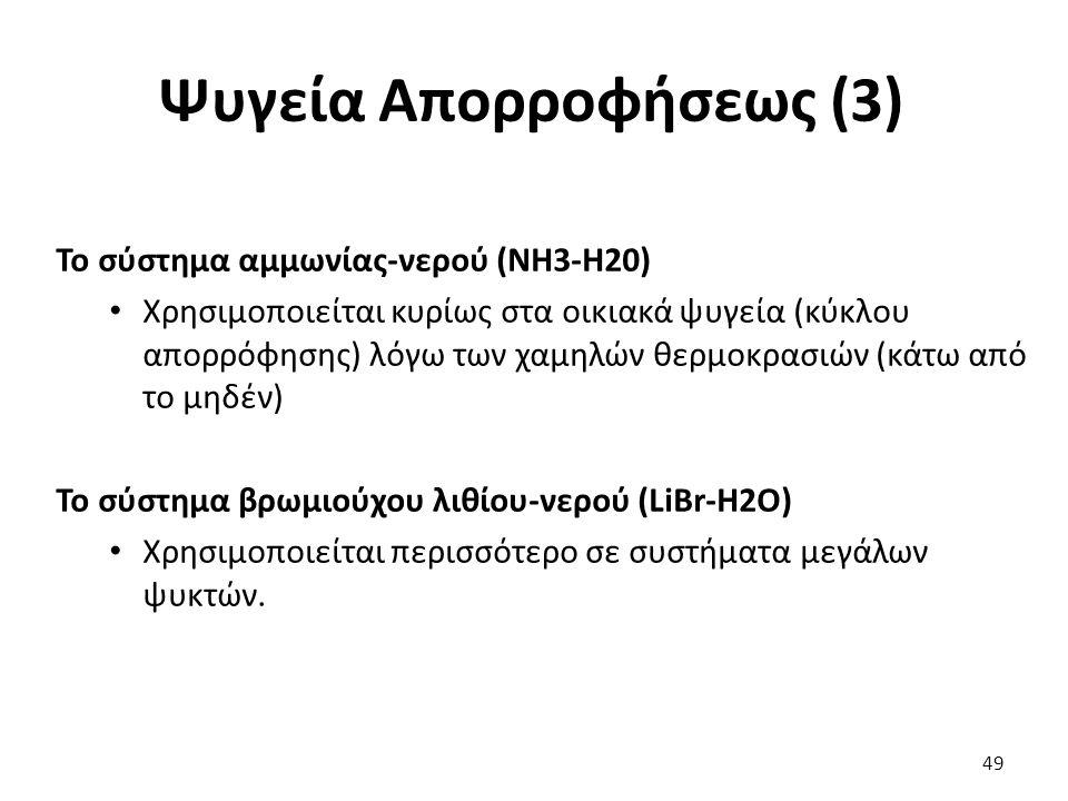 Ψυγεία Απορροφήσεως (3) 49 Το σύστημα αμμωνίας-νερού (NH3-H20) Χρησιμοποιείται κυρίως στα οικιακά ψυγεία (κύκλου απορρόφησης) λόγω των χαμηλών θερμοκρασιών (κάτω από το μηδέν) Το σύστημα βρωμιούχου λιθίου-νερού (LiBr-H2O) Χρησιμοποιείται περισσότερο σε συστήματα μεγάλων ψυκτών.