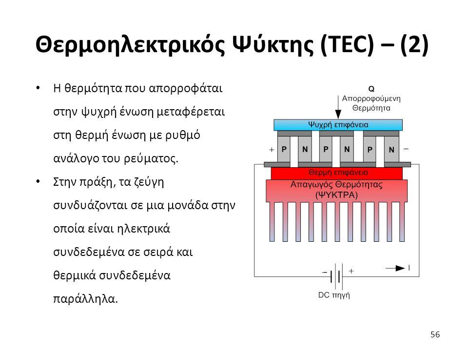 Θερμοηλεκτρικός Ψύκτης (TEC) – (2) 56 Η θερμότητα που απορροφάται στην ψυχρή ένωση μεταφέρεται στη θερμή ένωση με ρυθμό ανάλογο του ρεύματος.