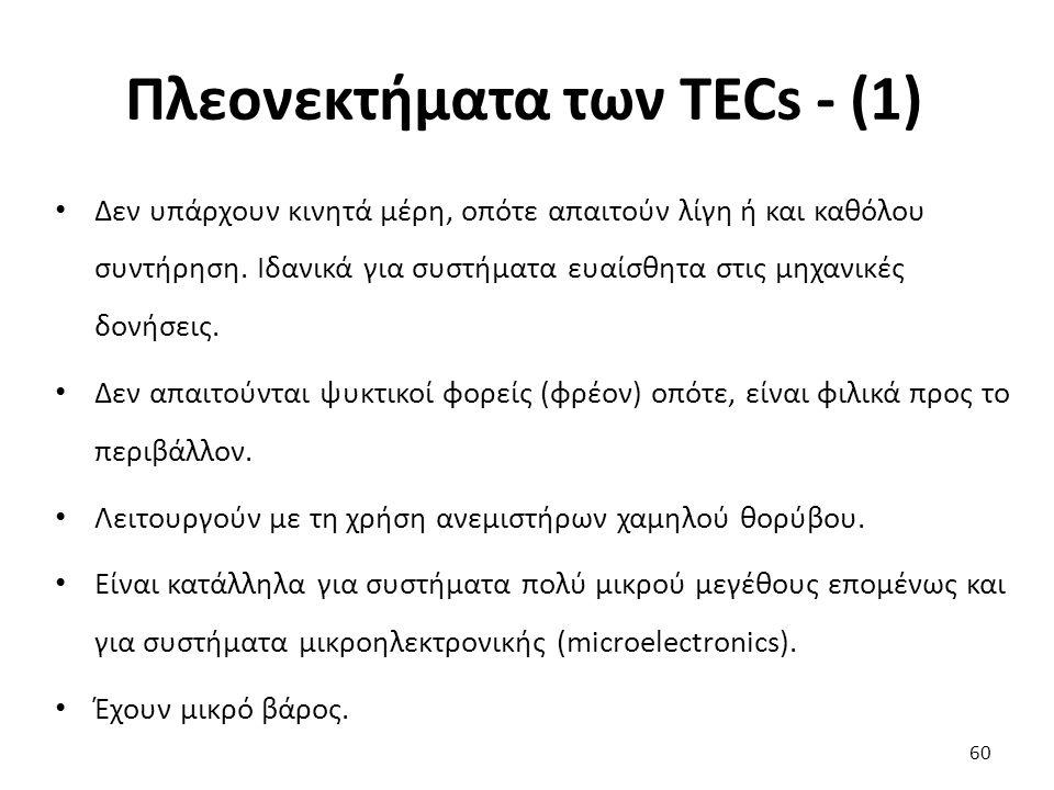 Πλεονεκτήματα των TECs - (1) 60 Δεν υπάρχουν κινητά μέρη, οπότε απαιτούν λίγη ή και καθόλου συντήρηση.