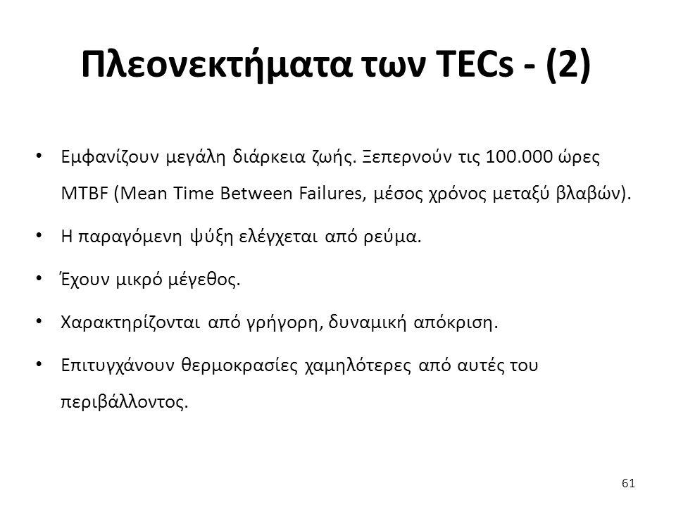 Πλεονεκτήματα των TECs - (2) 61 Εμφανίζουν μεγάλη διάρκεια ζωής.