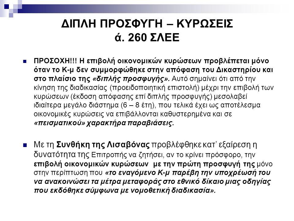 ΔΙΠΛΗ ΠΡΟΣΦΥΓΗ – ΚΥΡΩΣΕΙΣ ά. 260 ΣΛΕΕ ΠΡΟΣΟΧΗ!!.