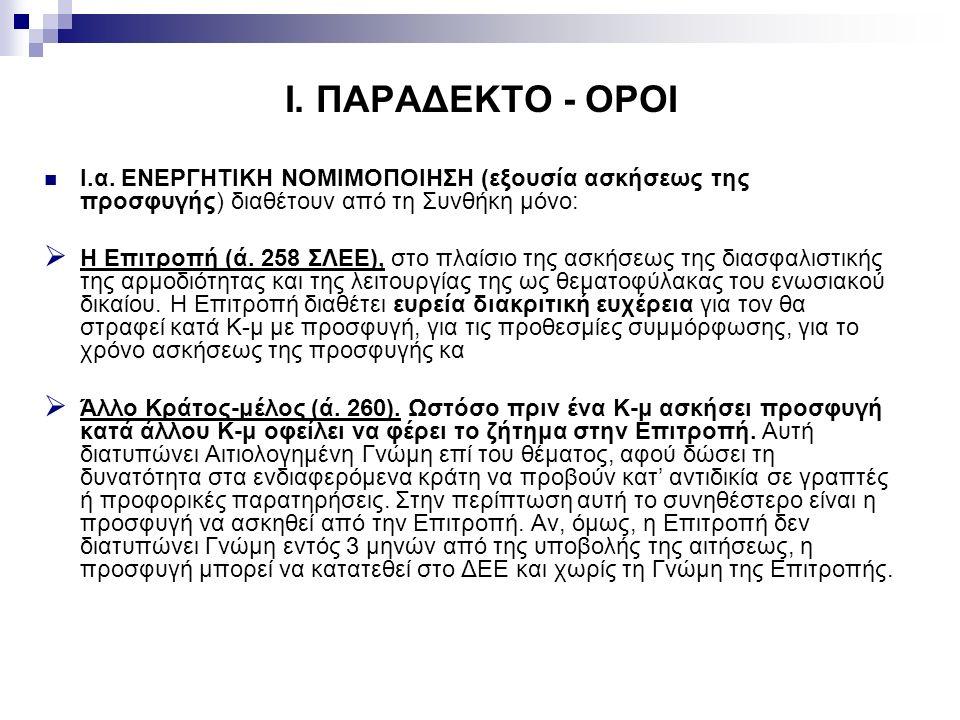 I. ΠΑΡΑΔΕΚΤΟ - ΟΡΟΙ I.α.