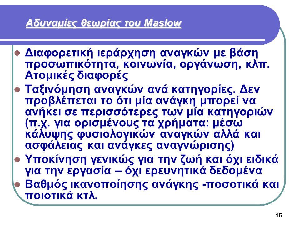 15 Αδυναμίες θεωρίας του Maslow Διαφορετική ιεράρχηση αναγκών με βάση προσωπικότητα, κοινωνία, οργάνωση, κλπ. Ατομικές διαφορές Ταξινόμηση αναγκών ανά