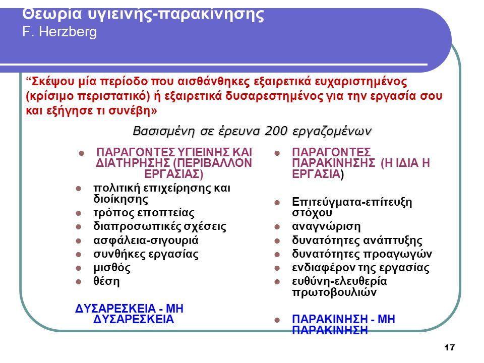17 Θεωρία υγιεινής-παρακίνησης F. Herzberg ΠΑΡΑΓΟΝΤΕΣ ΥΓΙΕΙΝΗΣ ΚΑΙ ΔΙΑΤΗΡΗΣΗΣ (ΠΕΡΙΒΑΛΛΟΝ ΕΡΓΑΣΙΑΣ) πολιτική επιχείρησης και διοίκησης τρόπος εποπτεία