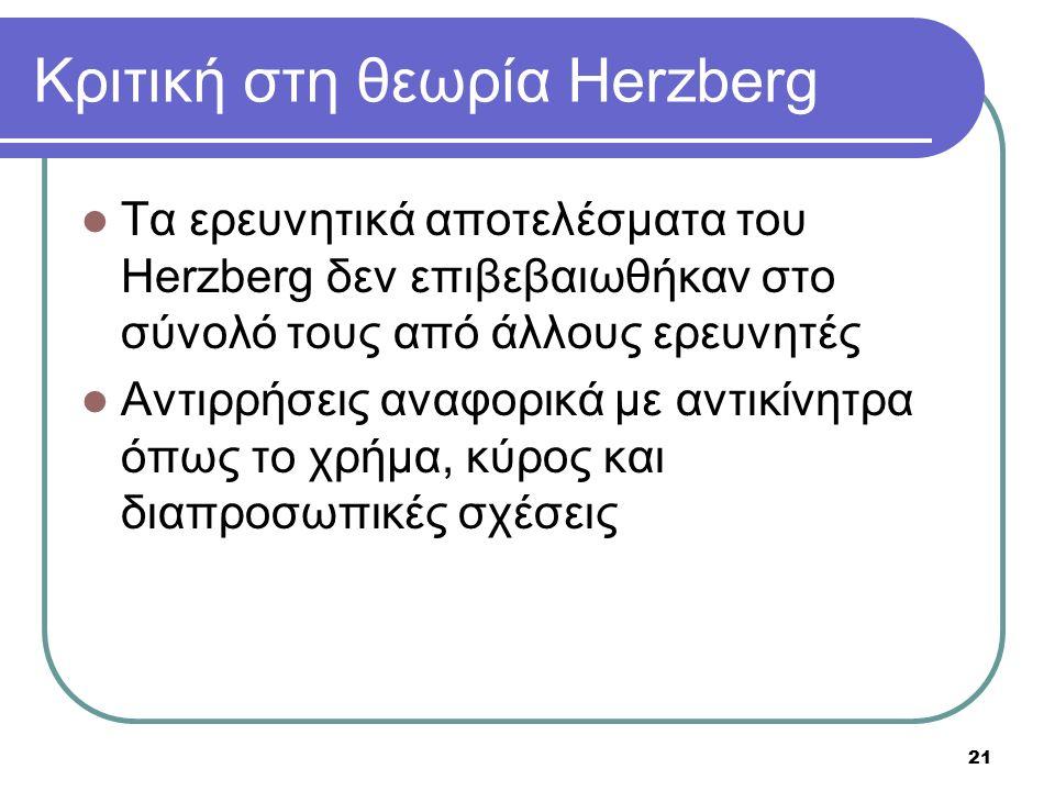 21 Κριτική στη θεωρία Herzberg Τα ερευνητικά αποτελέσματα του Herzberg δεν επιβεβαιωθήκαν στο σύνολό τους από άλλους ερευνητές Αντιρρήσεις αναφορικά μ