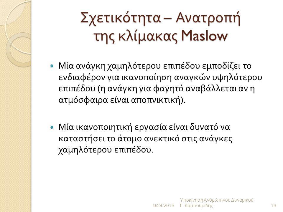 Σχετικότητα της Κλίμακας Maslow ( Ι ) Συνήθως ικανοποιούμε μία ανάγκη κατώτερου επιπέδου και μετά επιδιώκουμε την ικανοποίηση ανώτερου επιπέδου ανάγκη.