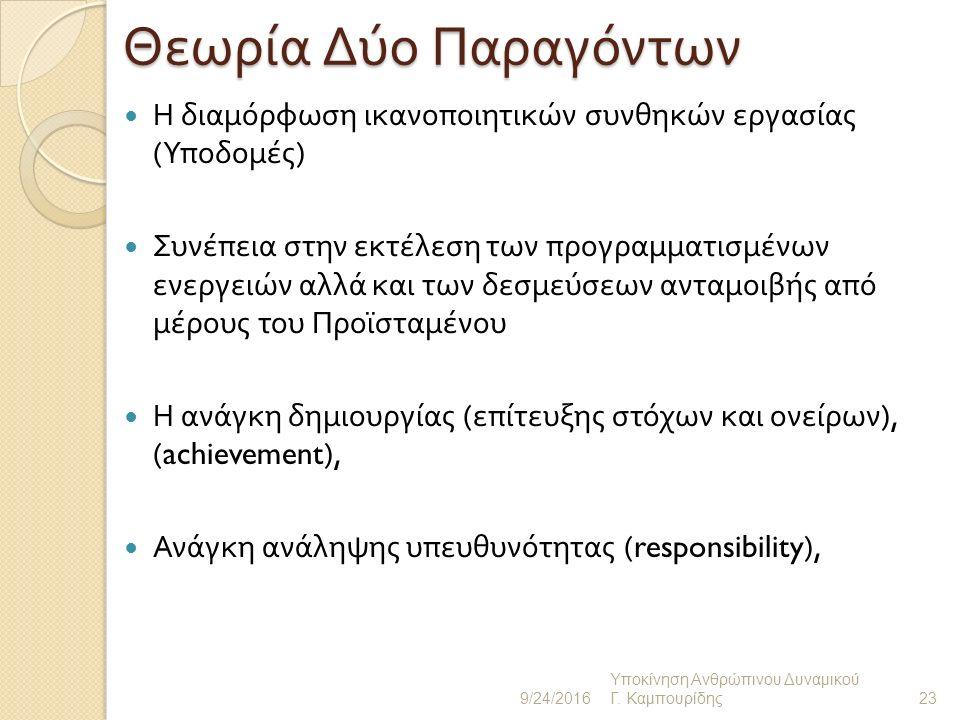 Εφαρμογή της Θεωρίας των Δύο Παραγόντων Ανάγκη αναγνώρισης (recognition) Ανάγκη επαγγελματικής ανέλιξης (advancement) Ανάγκη για μία ενδιαφέρουσα δουλειά (work interest, job enrichement) Ανάγκη προσωπικής βελτίωσης (personal development).