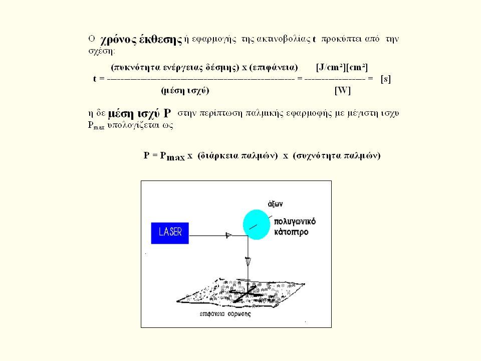 Τρόποι ακτινοβόλησης της δέσμης Laser H ακτινοβόληση της δέσμης Laser στο επιθυμιτό σημείο γίνεται με τρις τρόπους: α) με συνεχή ακτινοβόληση, με β) π