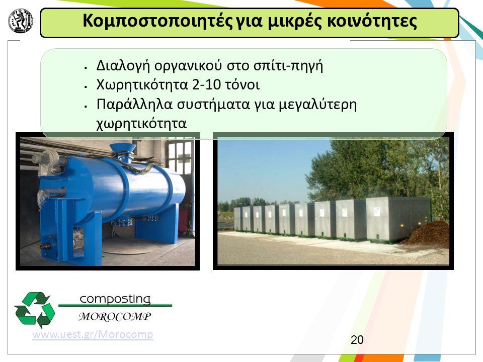 Κομποστοποιητές για μικρές κοινότητες 20 www.uest.gr/Morocomp  Διαλογή οργανικού στο σπίτι-πηγή  Χωρητικότητα 2-10 τόνοι  Παράλληλα συστήματα για μεγαλύτερη χωρητικότητα