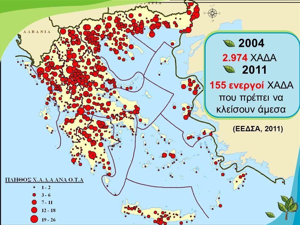 2.974 ΧΑΔΑ 2004 2011 155 ενεργοί ΧΑΔΑ που πρέπει να κλείσουν άμεσα (ΕΕΔΣΑ, 2011)