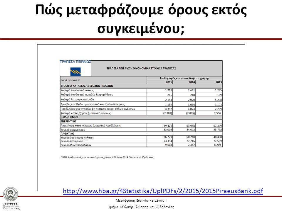 Αριστοτέλειο Πανεπιστήμιο Θεσσαλονίκης Μετάφραση Ειδικών Κειμένων Ι Τμήμα Γαλλικής Γλώσσας και Φιλολογίας Πώς μεταφράζουμε όρους εκτός συγκειμένου; http://www.hba.gr/4Statistika/UplPDFs/2/2015/2015PiraeusBank.pdf