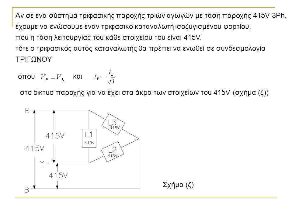 Αν σε ένα σύστημα τριφασικής παροχής τριών αγωγών με τάση παροχής 415V 3Ph, έχουμε να ενώσουμε έναν τριφασικό καταναλωτή ισοζυγισμένου φορτίου, που η τάση λειτουργίας του κάθε στοιχείου του είναι 415V, τότε ο τριφασικός αυτός καταναλωτής θα πρέπει να ενωθεί σε συνδεσμολογία ΤΡΙΓΩΝΟΥ Σχήμα (ζ) όπουκαι στο δίκτυο παροχής για να έχει στα άκρα των στοιχείων του 415V (σχήμα (ζ))