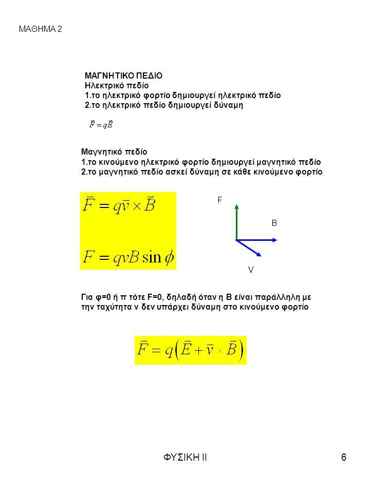 ΦΥΣΙΚΗ ΙΙ6 ΜΑΓΝΗΤΙΚΟ ΠΕΔΙΟ Ηλεκτρικό πεδίο 1.το ηλεκτρικό φορτίο δημιουργεί ηλεκτρικό πεδίο 2.το ηλεκτρικό πεδίο δημιουργεί δύναμη Μαγνητικό πεδίο 1.το κινούμενο ηλεκτρικό φορτίο δημιουργεί μαγνητικό πεδίο 2.το μαγνητικό πεδίο ασκεί δύναμη σε κάθε κινούμενο φορτίο ΜΑΘΗΜΑ 2 F B Για φ=0 ή π τότε F=0, δηλαδή όταν η Β είναι παράλληλη με την ταχύτητα v δεν υπάρχει δύναμη στο κινούμενο φορτίο V
